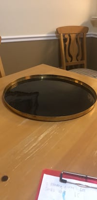 round brown wooden framed glass top coffee table Fairfax, 22033