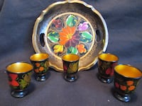 Hand Painted Russian Art Tray With 5 Egg Cups Burlington