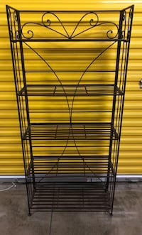 Collapsible 5' Tall Galvanized Metal Bookcase