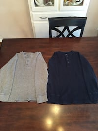 2 Long Sleeve Boys Thermal Henley Shirts size 10-12 Large