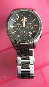 round black Armani Exchange chronograph watch with silver link band Victoria, V8T 4G8