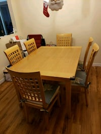 rectangular brown wooden table with six chairs  Port Coquitlam, V3B 4R5