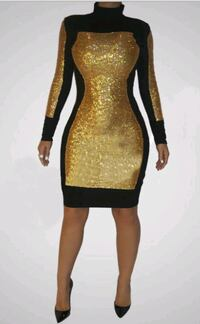 Gold and black bodycon evening dress Savage, 20763