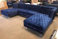 3pc tufted blue velvet sectional with acrylic legs  Alexandria, 22312