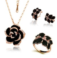 Black Rose Flower Jewelry Set 19 km
