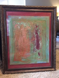4x3 feet framed green red and orange painting Houston, 77057