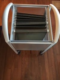 gray and white steel file organizer