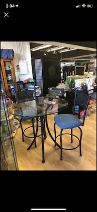 "Like new - high end,  2 seat dining set  (great condo size) 36"" inches w /35"" high thick glass EUC. Scroll pictures and details  Port Moody, V3H 4C6"