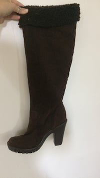 brown knee high heeled boots