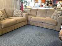 Brown P.O. Sofa & Loveseat with Pillows