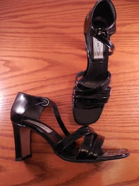 pair of black leather open-toe heeled sandals Toronto
