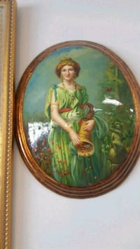 woman in green dress painting Aurora