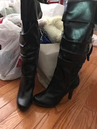 Women's black size 6 leather boots Reston, 20190
