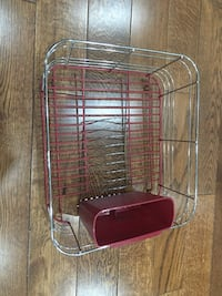 stainless steel and red dish rack
