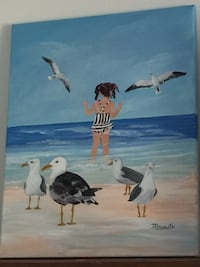 Girl on the beach hand painted