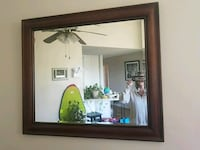 rectangular black wooden framed mirror