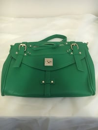 green leather envelope bag