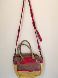 Yellow, red, and brown leather crossbody bag Mississauga, L4Z 2Y8