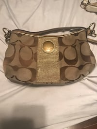 brown and gray Coach monogram hobo bag West Palm Beach, 33405