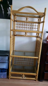 selling bamboo organizer with glass shelves