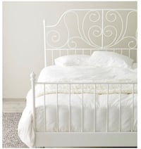White metal bed frame, size full, with sates and center beam Los Angeles, 90034