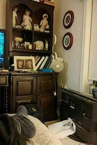 brown wooden TV hutch with flat screen television Winnipeg, R2V 1P3