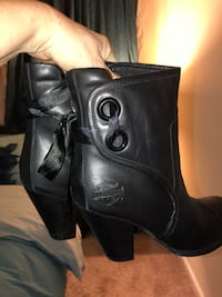 Pair of women's black harley-davidson leather heeled boots Charlotte, 28215