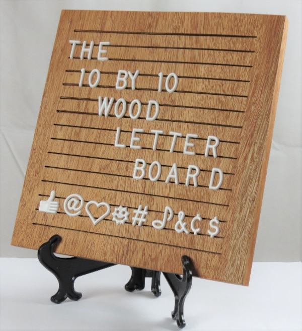 Wood Letter Board With White Letters Numbers And Stand New