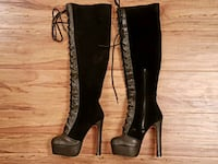 67cd77b250e Used Pair of black Stretch Pull on knee-high boots for sale in ...