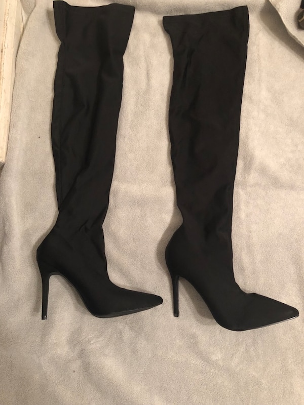 70b8b8c0831 Used Pair of black suede heeled knee-high boots for sale in Bloomfield -  letgo