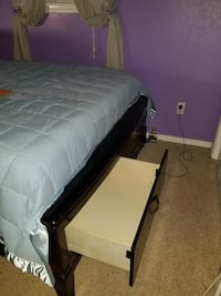 Black wooden bed frame with white mattress Oklahoma City, 73162