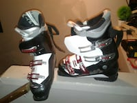 white-red-and-black ski boots