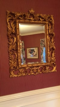 Gold wood  framed wall mirror