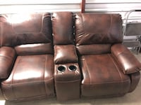 brown leather home theater loveseat Mobile, 36609