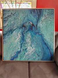 blue and white abstract painting Des Moines, 50317