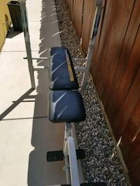 weight bench ,bar,and 35lbs. has leg attachments. works. dont need. Turlock, 95380