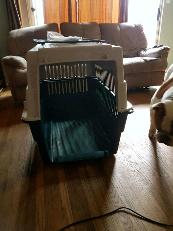 black and gray pet carrier