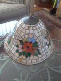 multicolored floral tiffany-style pendant lamp