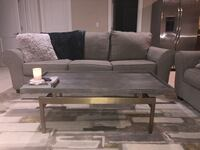 Gray Rustic Coffee Table with Bronze Base Yonkers, 10707