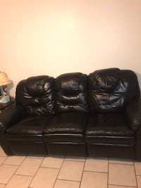 Black leather 3-seat sofa and Recliner Lubbock, 79403