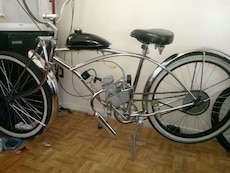 gray motorized bicycle
