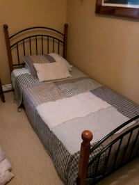 white wooden bed frame with white mattress Erin, N0B 1T0