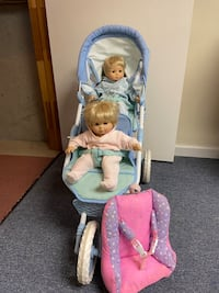 Bitty Baby twins with double jogging stroller