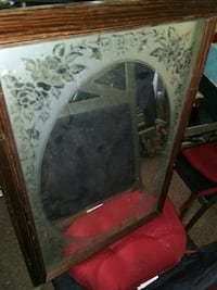 Brown wood wall mirror with smoke glass pattern.... Oak Park, 60304