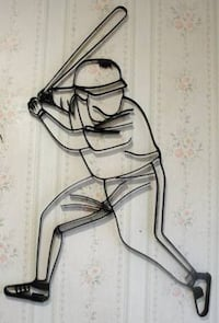 """Baseball Batter .. Sports .. Black Iron .. Silhouette .. Decorative Wall Art. Wall art measures 28"""" tall x 17 1/2"""" wide. Place on any background color for a three dimensional effect. Black semi-gloss finish. Great for kids room, bar, garage or anywhere yo Bristol, 19007"""