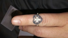 Sterling silver an crystal ring cross