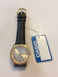 Casio men's silver and gold analog leather band watch mtp1093q-7b1 brand new no box