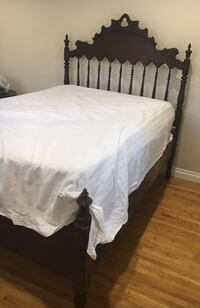Vintage Wood Full Bed and Mattress