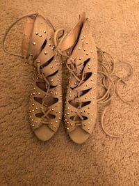 Tan ankle strap heels with gold studs