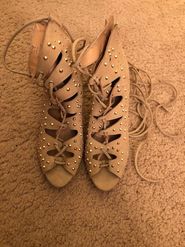 Tan ankle strap heels with gold studs  788e26c9-bd68-4476-a5f1-f2d3ec7544e9